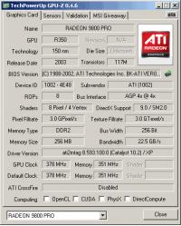 HIS 9800 PRO 256MB GPUZ